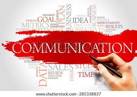 Communication word cloud, business concept - stock photo