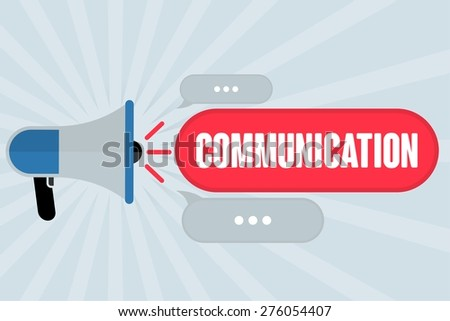 COMMUNICATION word out of megaphone with grey background - stock photo