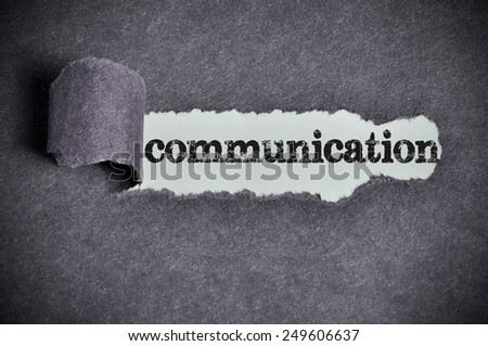 communication word under torn black sugar paper  - stock photo