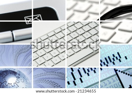 communications and technology composition out of many images - stock photo