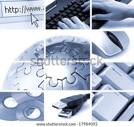 communications and technology theme composition in blue tone - stock photo