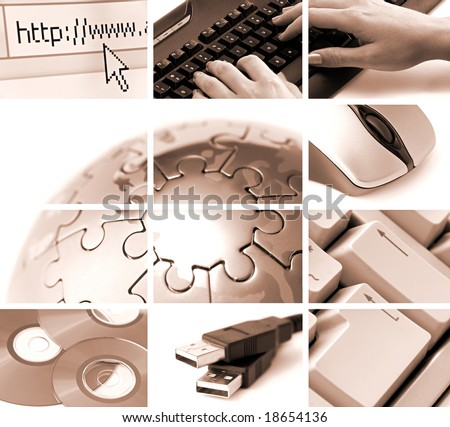 communications and technology theme composition in sepia tone - stock photo