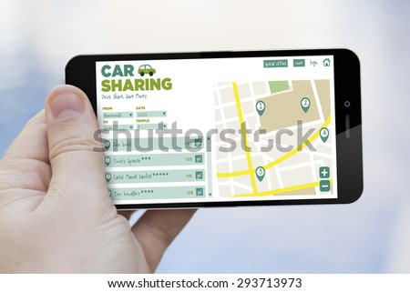 communications, cheap tourism travel concept: hand holding a car sharing app on a  3d generated smartphone. Screen graphics are made up. - stock photo