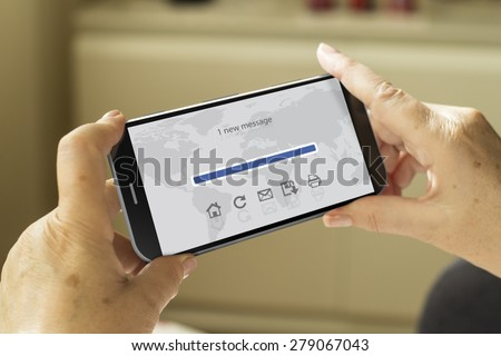 communications concept: mature woman hands with a 3d generated smartphone with mail app on screen - stock photo
