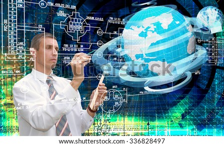 Communications connection technology generation.Engineer working scheme - stock photo