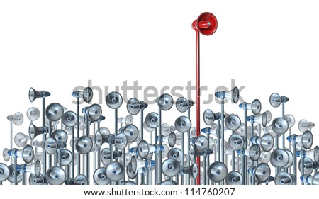 Communications leader concept with a red bullhorn or megaphone rising above the rest of the group of competitors as a business and financial symbol of a message through promotion and marketing. - stock photo