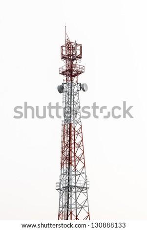 Communications Tower isolate on white background - stock photo