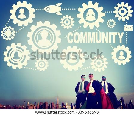 Community Connection Society Social Media Social Network Concept - stock photo