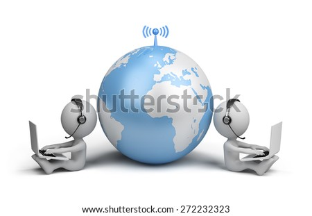 Community friends on the internet. 3d image. White background. - stock photo