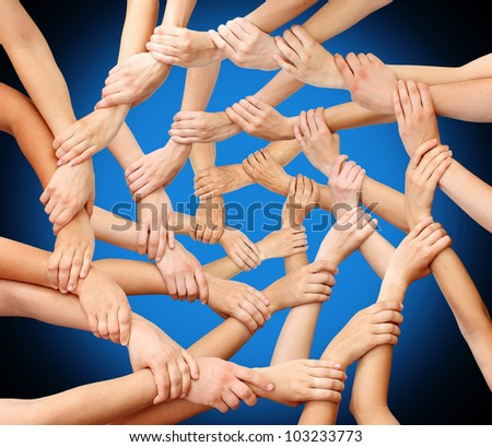 Community hands teamwork - stock photo