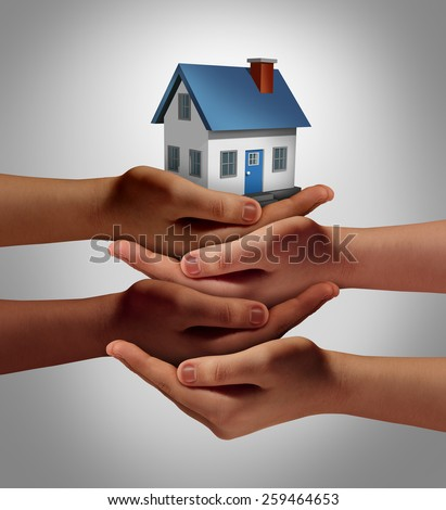 Community housing concept and neighbor support or neighborhood watch symbol as a connected group of diverse hands supporting and holding a family home as a metaphor for friendly residents. - stock photo