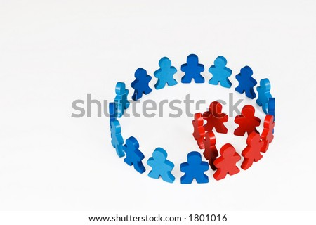 Community Makeup - Social and Business concepts illustrated with colorful wooden people. - stock photo