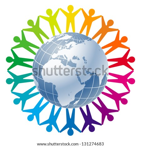 Community of people joined around the globe. Logo for Business, Technology, Corporation. - stock photo