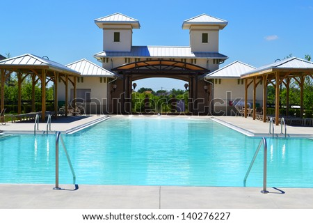 Community Pool in a Brand New Suburban Neighborhood - stock photo