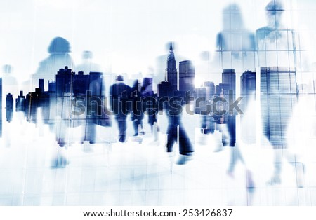Commuter Business People Cityscape Corporate Travel Concept - stock photo