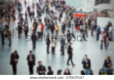 Commuters generic background. Intentionally blurred editing post production. - stock photo