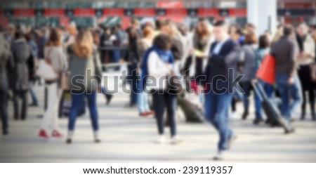 Commuters. Intentionally blurred background. - stock photo