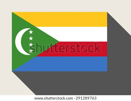 Comoros flag in flat web design style. - stock photo