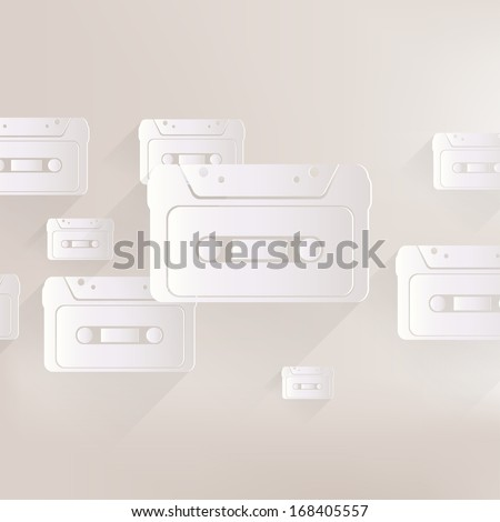 Compact Cassette icon, flat design, hipster style - stock photo
