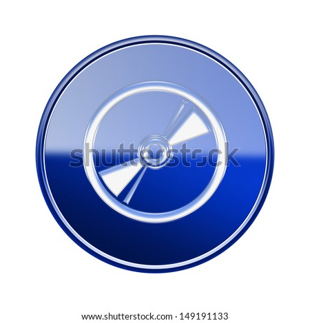 Compact Disc icon glossy blue, isolated on white background - stock photo