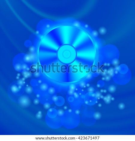 Compact Disc Isolated on Blue Wave Blurred Background - stock photo