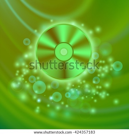 Compact Disc Isolated on Green Wave Blurred Background - stock photo