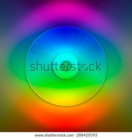 Compact disc on colorful background representing digital eye - stock photo