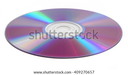Compact disk (CD) isolated on white background - stock photo