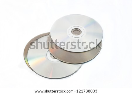 Compact Disks on white background - stock photo