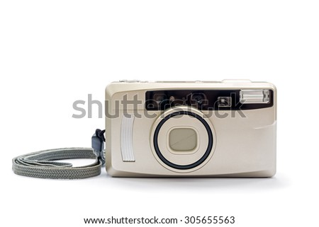 compact film camera isolated on white background - stock photo