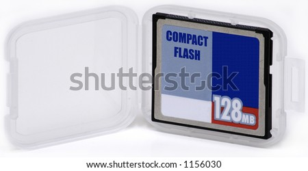 Compact Flash Card in Case - stock photo