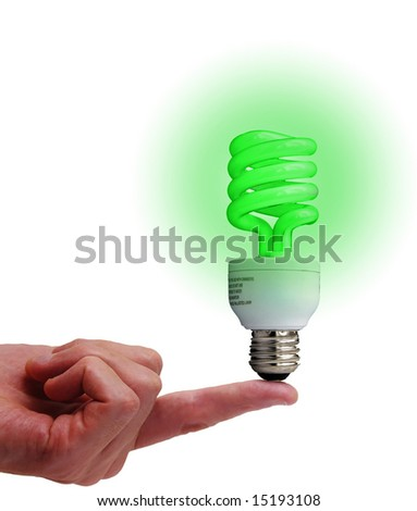 Compact fluorescent bulb on a finger, isolated on white - stock photo