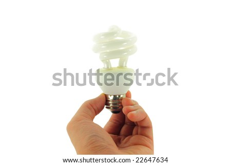 Compact Fluorescent Light bulb held in hand isolated on a white background - stock photo