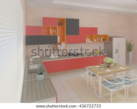 Compact modern kitchen with a large window, 3d rendering. - stock photo