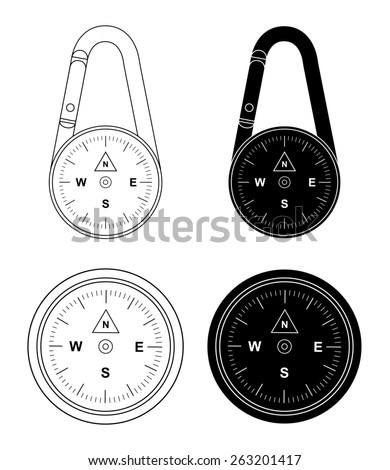 Compact portable pocket travel steel compass on carabiner. Raster clip art contour lines and black illustrations isolated on white - stock photo