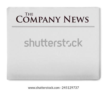 Company news title on newspaper - stock photo