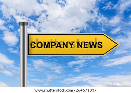 company news words on yellow road sign on blue sky - stock photo
