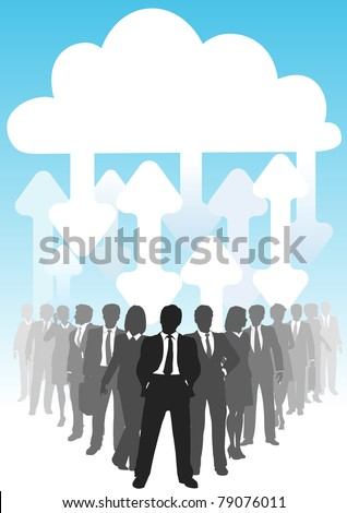 Company people do business in IT cloud computing environment - stock photo