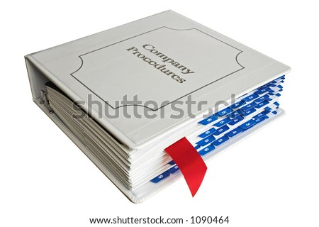Company procedures binder with red bookmark - stock photo