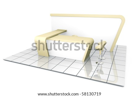 Company trade exhibition stand. 3D rendered illustration. - stock photo