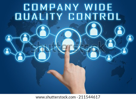 Company Wide Quality Control concept with hand pressing social icons on blue world map background. - stock photo