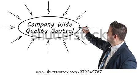 Company Wide Quality Control - young businessman drawing information concept on whiteboard.  - stock photo