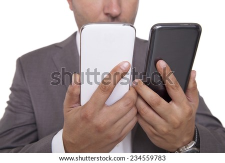 compare the two mobile phones - stock photo