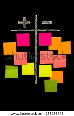 Comparison of plus and minus conceptional drawing on the chalkboard with color sticky notes - stock photo