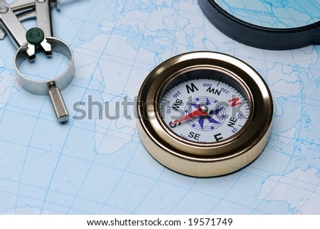 Compass and card - stock photo