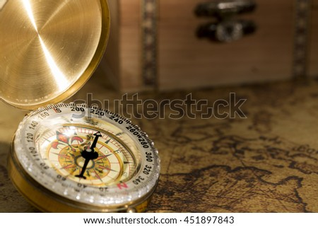Compass and vintage map - stock photo