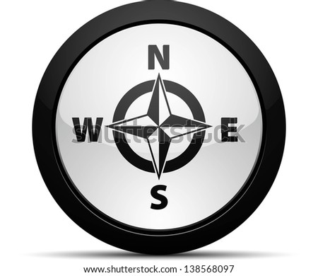 Compass Button - stock photo