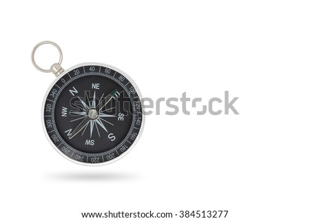 compass close-up isolated on white background with copy space - stock photo