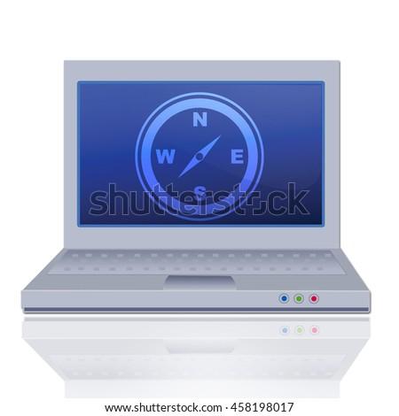 compass icon on laptop - stock photo