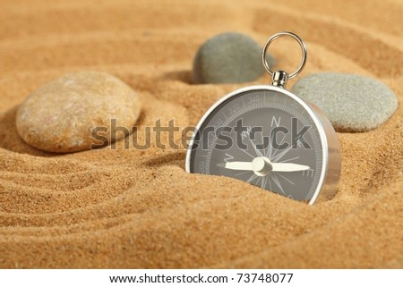compass in sand - stock photo